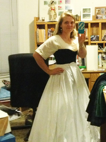 Trying out the new petticoat with old corset and hoop skirt. There are safety pins involved. Lots of safety pins.